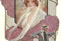 Art Nouveau and Art Deco postcards. / A múlt század fordulójának legjelentősebb művészeti törekvése a szecesszió.Ez az utolsó egyetemes művészet. amely az építészetben, zenében, képzőművészetben egyaránt egyedülállót alkotott. Elődje a feudális úri világ akadémista, eklektikus stílusa,amely egy hazug kor hamis stílusa. Utódjának talán az Art Deco lehetne tekinthető.