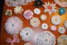 Crafts-Handmade Flowers / Flowers made from lace, ribbon and paper