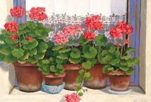 Цветы в ... (горшок, ваза, кружка, ...)