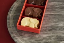 Elephants - R Chocolate London / The Sea Salt Caramel Elephants are from our Heritage Elephant Range.  A percentage of all sales from our Heritage Elephant Range are donated towards the Elephant Family Charity.   Available in our House Dark, House Milk and House White Organic Chocolate.