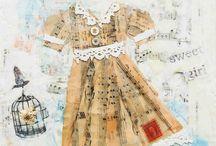 Pretty Paper Dresses / mixed media art