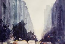 Watercolor Paintings that inspire... / Cities, Skylines, Houses, Cars, People....