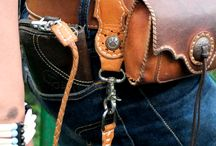 leather belt and bag
