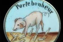 Porte Bonheur Lucky - Vintage Charms & Bracelets / Vintage French Silver & Enamel Porte Bonheur Lucky Bracelet Charms from France.