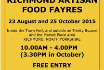 RICHMOND (North Yorkshire) ARTISAN FOOD FAYRE / Sunday 23 August in and around the Town Hall in the Market Place...oooh around 25 stands of delicious food and drinks 10-4  spice, meats, smoked fish, bakery, jams and jellies, pickles, marshmallows, fudge, wine, liqueurs, hand crafted pizza, Italian ice creams, chilli delights, Artisan coffee, sausages from many places! speciality gin, hand crafted cheesecakes, chocolate, ginger products, ...and FREE EVENT TO VISIT too. Have a great day out in Richmond and enjoy all it has to offer..