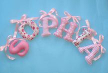 Ribbon bow fabric letters