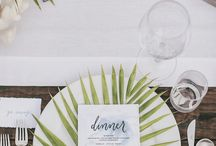 / palm wedding inspiration / / It might not quite be summer yet - but this is one wedding trend to watch out for! Tropical palm leaves make a gorgeously graphic statement. Simple and modern, they make a great way to tie together different elements of your wedding.
