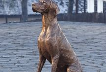 Hungarian Vizsla bronze statue life size / My Hungarian Vizsla themed artworks.