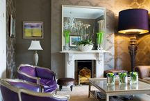 front room / Creating a fun, modern sitting room accented in plum and red / by Theresa Turner