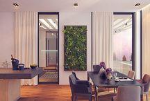 Дом в Сочи / Одноэтажный загородный дом общей площадью 270 м2 делится стеклянным переходом-галерей на 2 основные части — жилую и зону кухни-гостиной. При небольших помещениях, ощущение простора достигается дополнительными островами света в кровле.