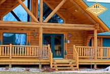 Log Railings / Cedar log railings for log cabin or timber style home:  porch, fence, stairways, loft.  Indoor and outdoor