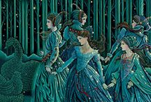 Fantasy Art in Teal / Mint / Turquoise