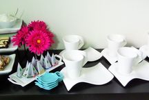 Entertaining with Melange la jolla mugs & saucers. / Great for a wedding, Christmas or even a birthday gift!