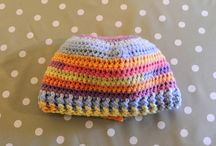 Crochet messy bun hats, baby hats, shower gifts,