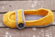 Crochet slippers, socks and gloves