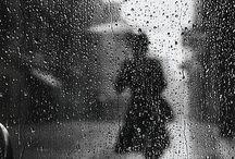 Chuva através do vidro