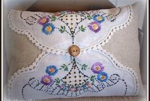 Pillows made with vintage doillies