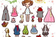 Inspiration for Cuteness. Paper Doll / Collection of Paper Doll that might give me inspiration to make the dress for my dolls