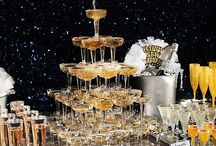 NYE Party Ideas / Toast to 2015 in elegant fashion! With a black, gold and silver color scheme, these drink and decorating ideas bring back Hollywood glam to the New Year! Click through to start planning your party!