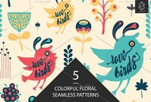 Graphic Sets & Bundles / Flat icons, seamless patterns, web elements, objects and illustrations.