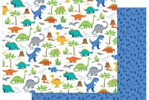 """Jurassic by Becky Fleck / Jurassic is perfect for the little boy (or girl) in your life who loves all things dinosaur! From T-Rex to Triceratops, mixed into a bright, all-boy color palette, your pages and projects will be """"Dinomite!""""Shipping June 2018"""