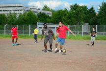 Soccer. / Playing amateur teams Peoples' Friendship University and team of migrant workers.