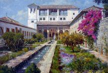 Exposición de Peter Böjthe / Reproducciones de pinturas. Paisajes de Granada