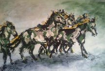 Horses paintings / Paintings of running, fighting and moving horses on canvas with acylic