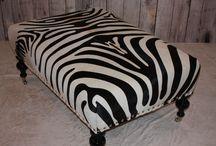 Zebra Print Cowhide Ottoman