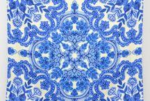 Blue White Metallics Room