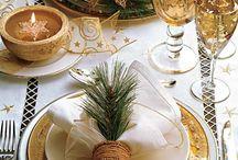 mesa de natal dourada