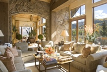 Rustic Great Rooms / rustic decor, rustic living room, rustic great room, log homes, log cabins, log home living rooms, cabins, rustic design, rustic homes / by Tracy Svendsen