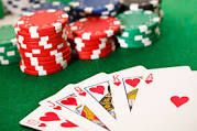 Poker strategy / A Poker hand is a configuration of five card, either held entirely by a player or drawn party from a number of shared, community card. Players bet on the hand in number of rounds as card are drawn, employing various mathematical and intuitive strategies in an attempt to better opponents.
