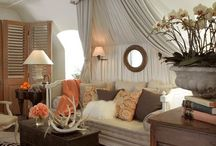 Sittin Room - apricot and turquoise