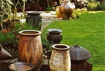 "Containers in the Garden / Containers are amazing focal points in gardens, can frame a space, or say ""enter here.""  Here I show samples of this idea from photos I find on the web, Cathy T"