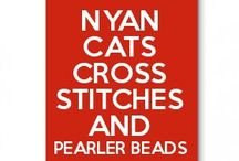 Nyan Cat Cross Stitches and Pearled Beads