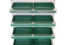 Fruit and vegetable shop shelving / metal shelving for fresh grocery produce / Fruit &a veg display shelving with green trays / green plastic trays / grocery shop shelving