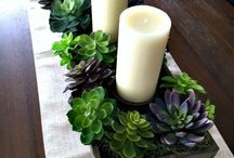 Rustic succulents center piece