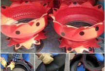 Tyre flower pots