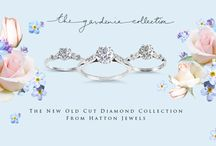 The Gardenia Collection / Inspired by the charms of the English country garden, Hatton Jewels are delighted to bring to you Gardenia, The Old Cut Collection.   This vintage influenced range features the 'Forget-Me-Not' leaf shoulder ring, with a choice of four and six claws, and the 'Rose' grain set shoulder ring.  Set with enchanting old cut diamonds ranging from 0.30 to 0.99 carats, Rose and Forget-Me-Not can be customised to the size, colour and clarity of your choice, to fit your tastes and budget.