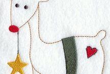 CHRISTMAS TEA TOWELS / Christmas motifs