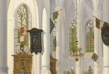 VERHEIJEN JAN HENDRIK 1778-1846 PEINTRE FLAMAND / UTRECHT CATHEDRALE