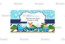Bright Blue Christmas Winter Arctic Animals Train / This design features a winter arctic train with cute animals - a polar bear, reindeer, arctic fox and moose. The background consists of white snowflakes on a bright blue background, light blue, sky blue and navy blue stripes and a navy blue polka dot ribbon. Perfect for a winter party!