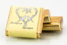 Czekoladki, podziękowania dla gości / Podziękowania dla gości weselnych, czekoladki ślubne, personalizowne etykiety