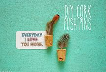 Push Pins, Cork Boards, DIY / Love push pins. I have a weakness for these things that include ink pens, magnets, maps, and cork boards / by Audrey Crothers