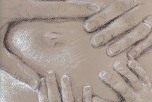 dessin sur la grossesse / moment de la grossesse réalisé d'après photo au pastel à l'huile
