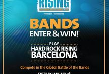 Hard Rock Rising 2015 / Hard Rock Rising Battle of the Bands 2015 is here! Hard Rock Rising is a worldwide battle of the bands competition conducted at Hard Rock locations around the globe. Along with local prizes, five bands will win a trip to Barcelona to play at Hard Rock Cafe Barcelona. Grand prize is playing main stage at Hard Rock Rising Barcelona music festival. Registration begins today and ends January 26, 2015. Visit www.hardrockrising.com for more details!