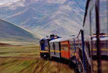 treinen in landschap