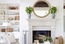 Living room / Living room design with woods, whites, and neutrals.  Farmhouse, coastal, and cottage details.