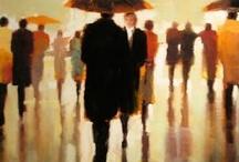 lorraine Christie figure sotto la pioggia